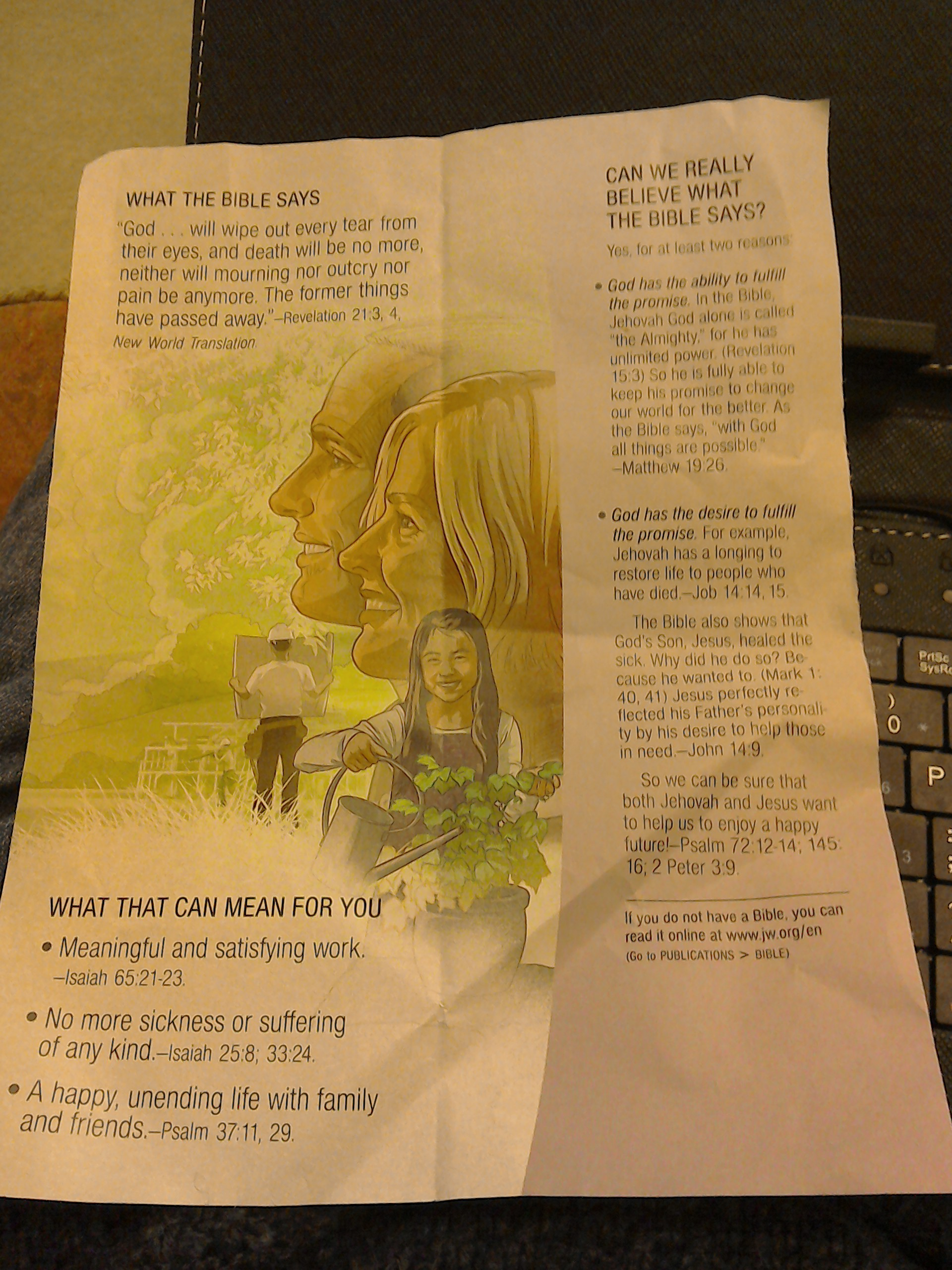 How do you view the future? (Jehovah's Witness Leaflet) – Cellar